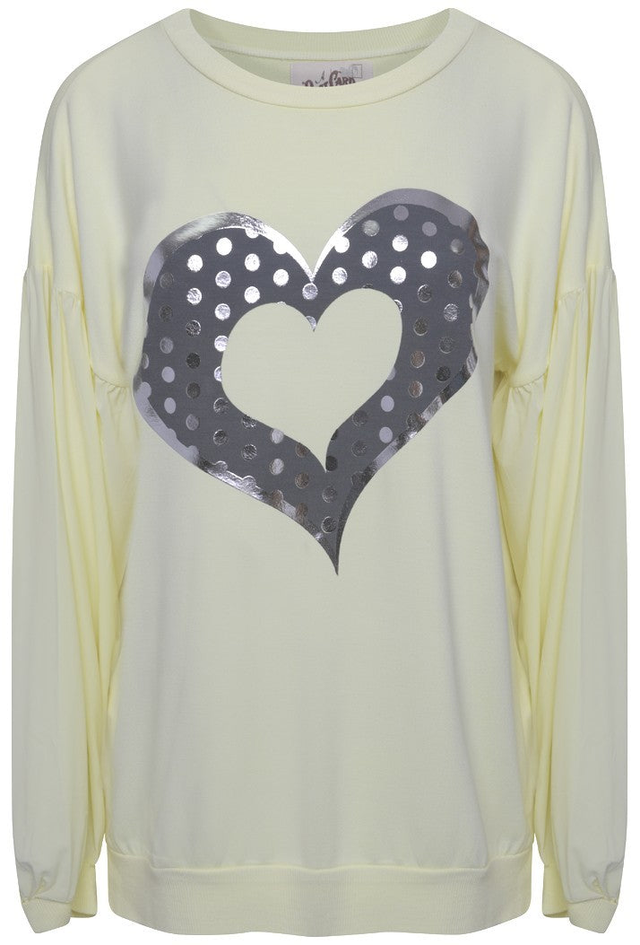 A POSTCARD FROM BRIGHTON HEART SWEAT TOP - LEMON CHIFFON