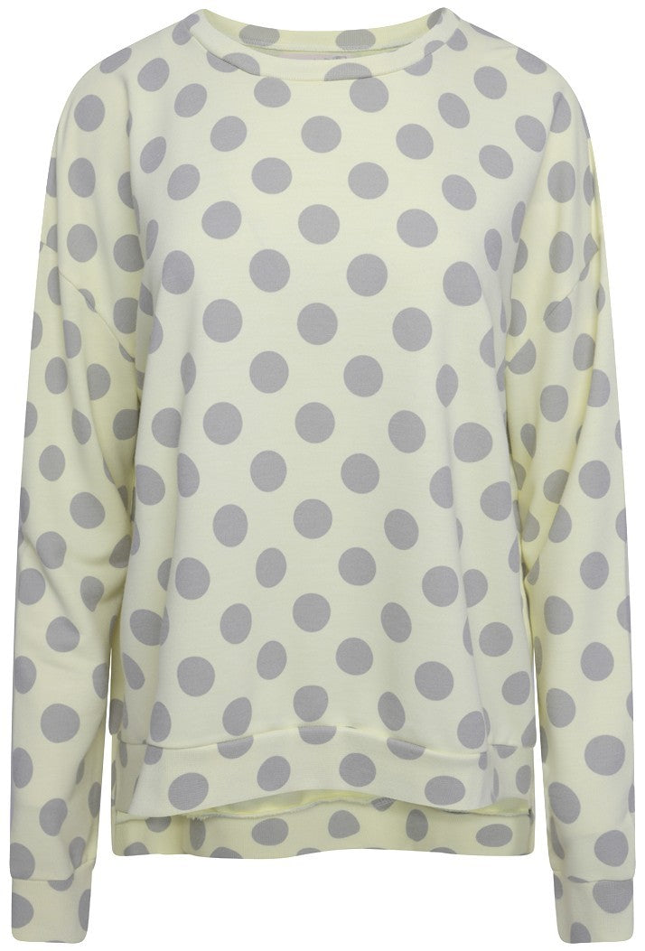 A POSTCARD FROM BRIGHTON SAFFRON SPOT BOXY SWEAT TOP - LEMON CHIFFON