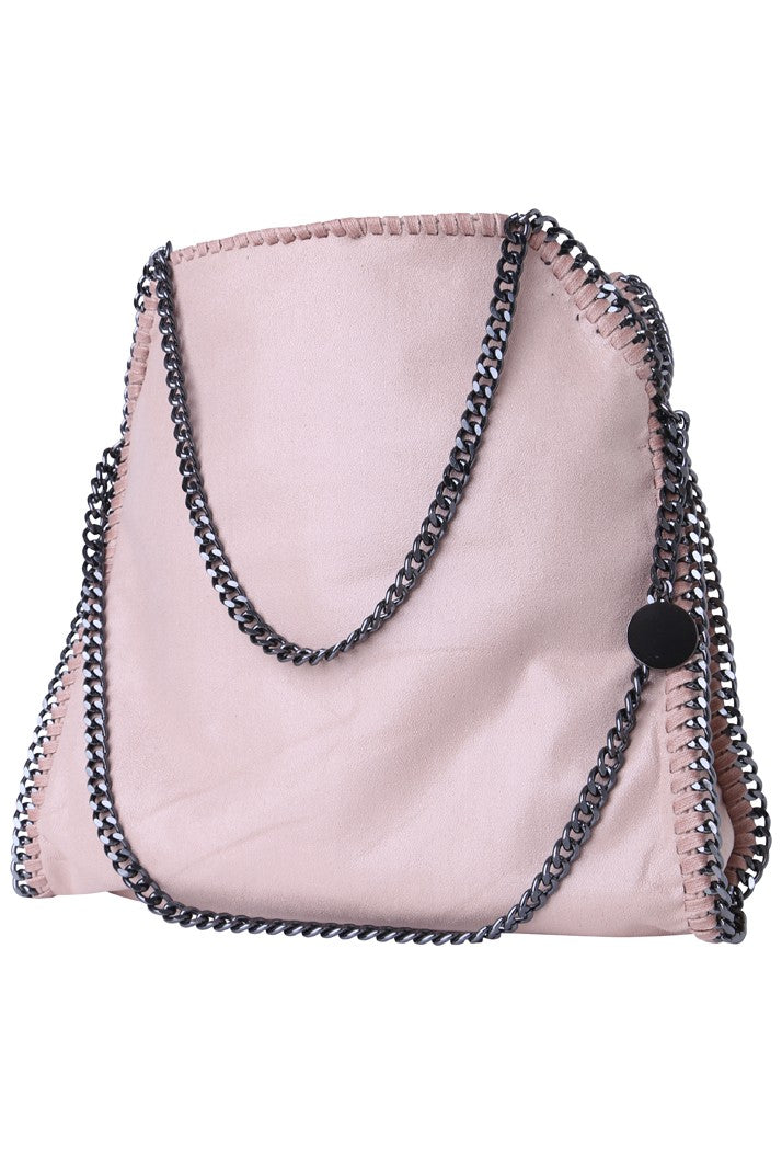 Stella Inspired Metallic Faux Suede Large Chain Bag - Nude Pink