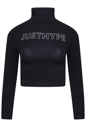 HYPE HIGH NECK LONG SLEEVE CROP TOP - BLACK/WHITE