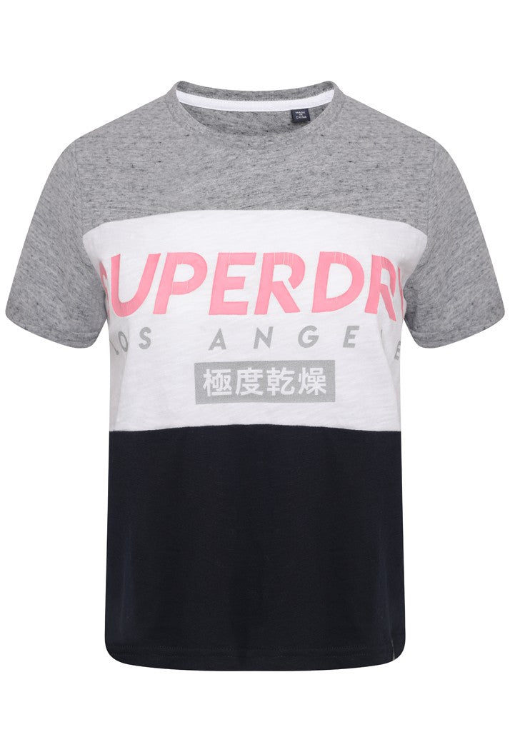 SUPERDRY LA BOXY T-SHIRT - PALE GREY MARL/ECLIPSE NAVY/CHALK WHITE