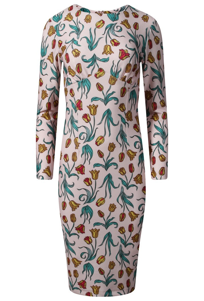 DIVA CATWALK MILFORD PRINT DRESS - LINEAR TULIP