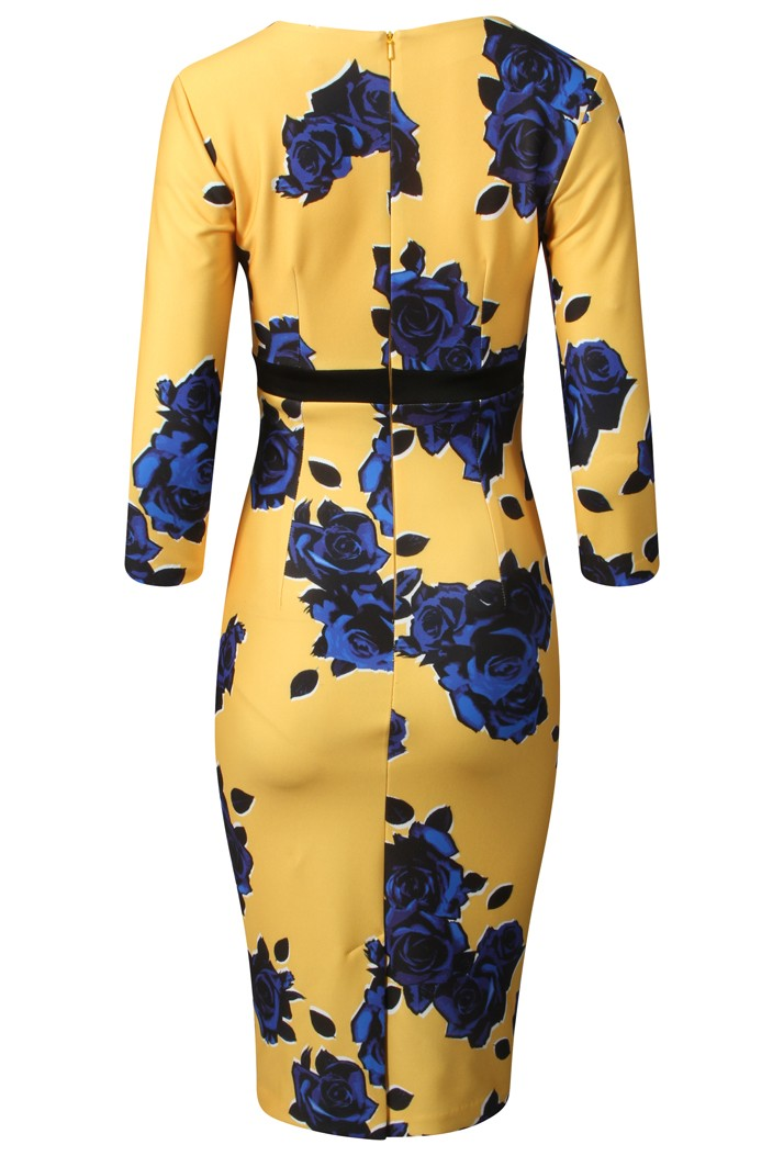 DIVA CATWALK NADIA THREE QUARTER NEW PRINT DRESS - BLUE MOON ROSE