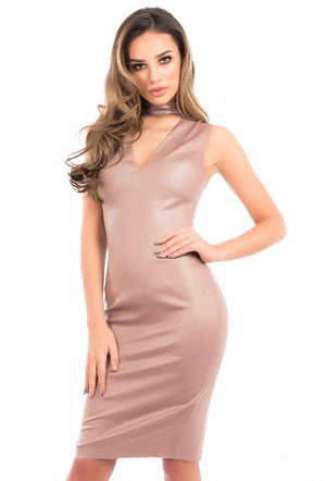FOREVER UNIQUE IZZY BODYCON DRESS - NUDE