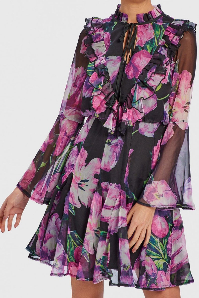 FOREVER UNIQUE JAMIE PURPLE TULIP PRINT SKATER DRESS