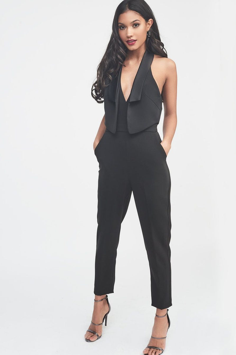 LAVISH ALICE DOUBLE LAYER TUXEDO JUMPSUIT WITH SATIN LAPEL - BLACK