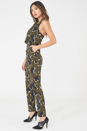 LAVISH ALICE PLEATED HALTERNECK TAILORED JUMPSUIT - KHAKI PRINT