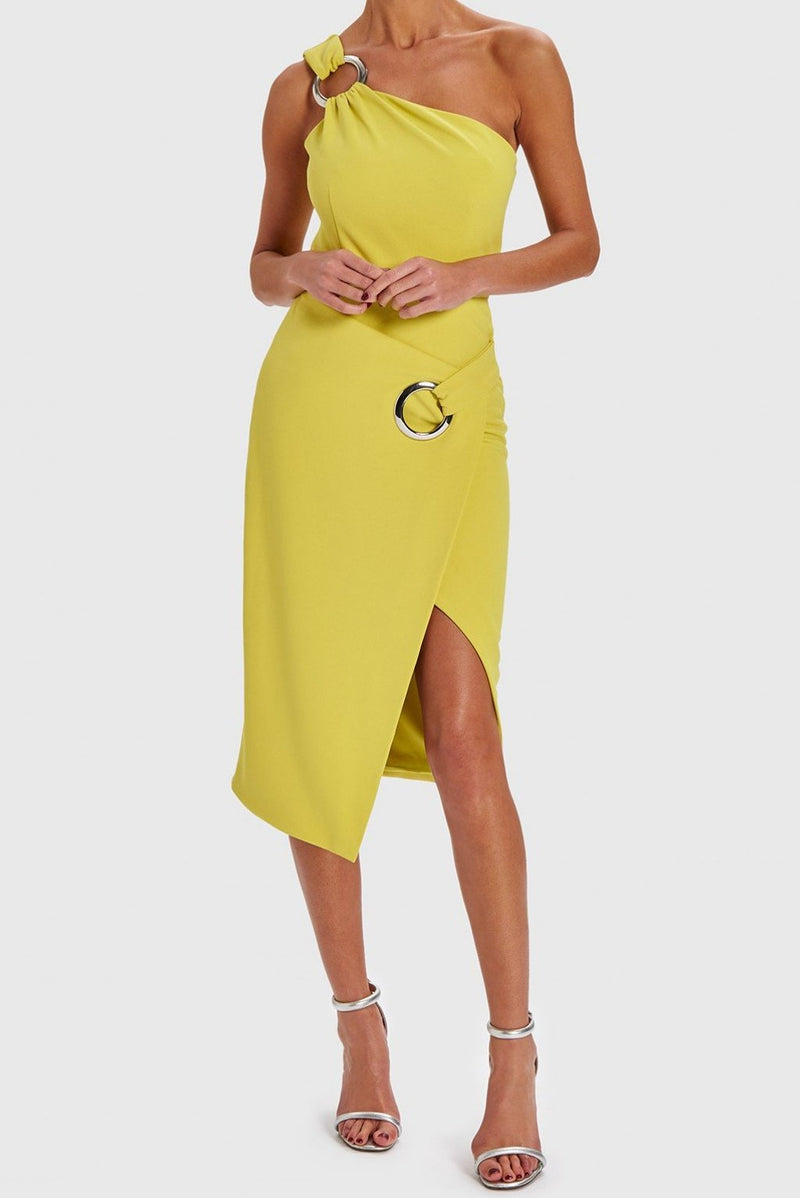 FOREVER UNIQUE KAYLA ONE SHOULDER BUCKLE MIDI DRESS - LIME