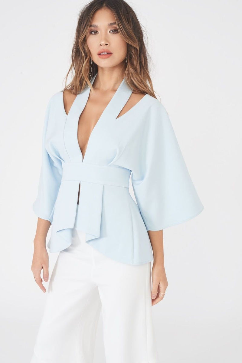LAVISH ALICE CUT OUT SHOULDER KIMONO TOP - ICE BLUE