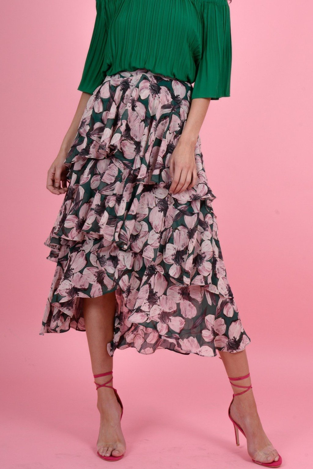 FOREVER UNIQUE U LOLITA FLORAL SKIRT - GREEN/PINK