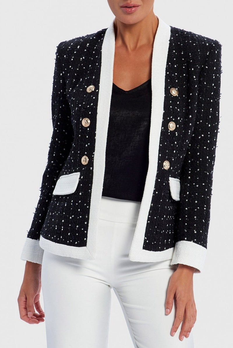 FOREVER UNIQUE MAREN BOUCLE CONTRAST MILITARY JACKET - BLACK/IVORY
