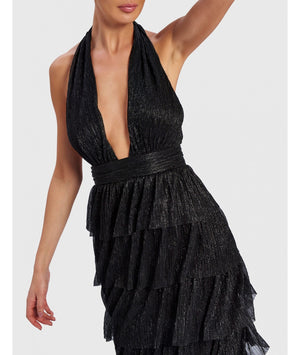 FOREVER UNIQUE MARLEEN METALLIC BLACK MAXI DRESS
