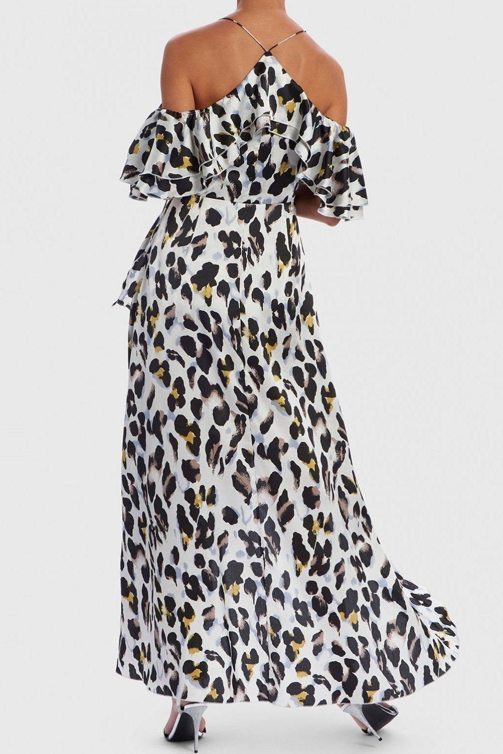 FOREVER UNIQUE U LEOPARD PRINT SATIN MAXI DRESS - WHITE
