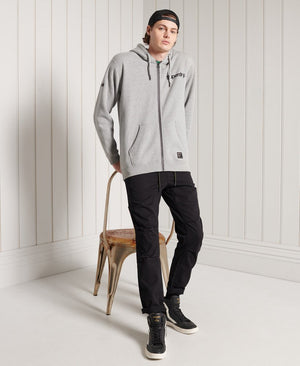 Military Graphic Zip Hoodie - Grey Marl