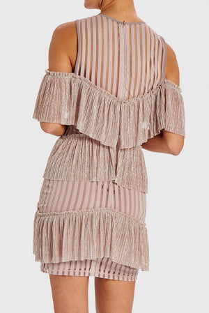 FOREVER UNIQUE MINDY COLD SHOULDER RUFFLE MINI DRESS - PINK