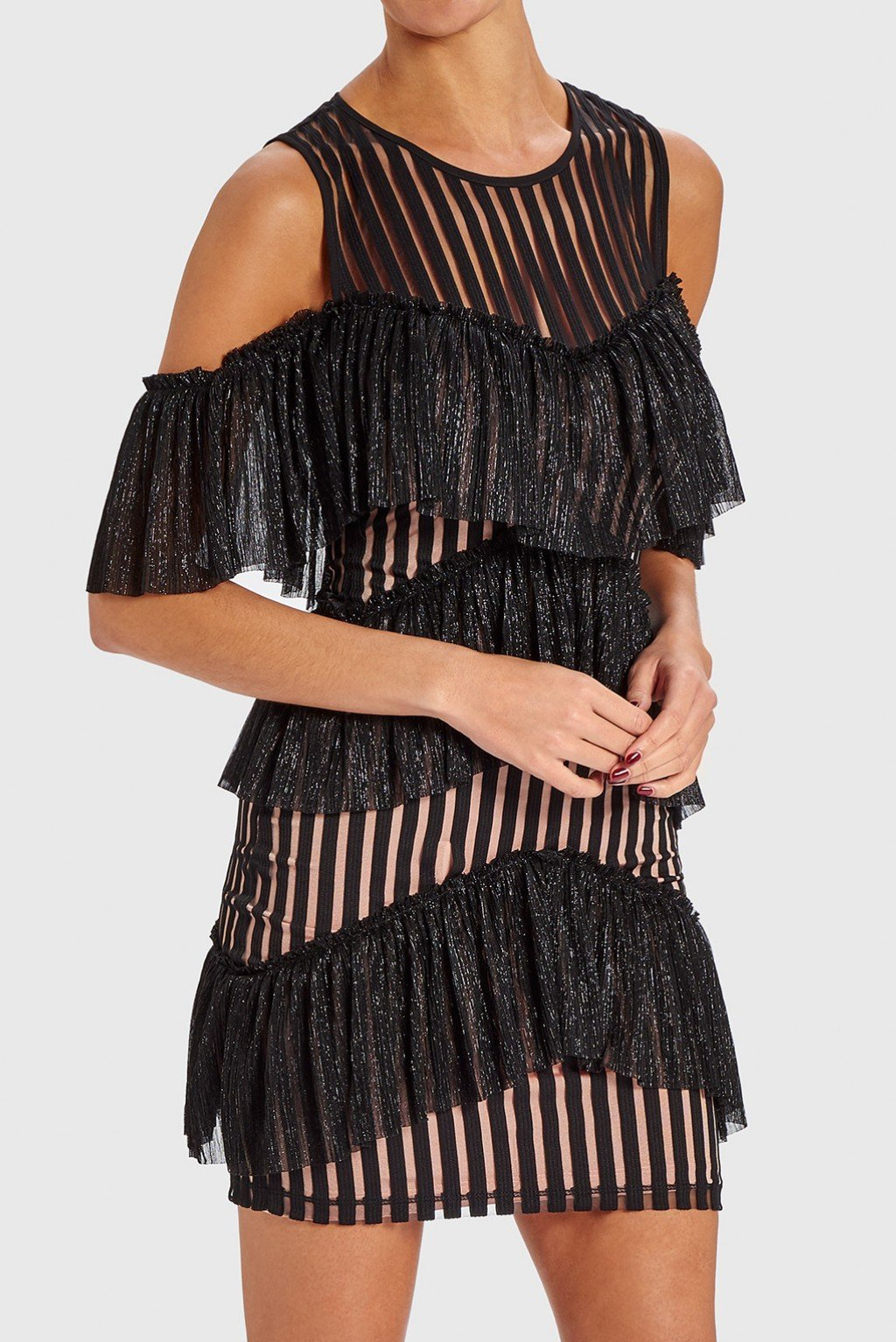 FOREVER UNIQUE MINDY COLD SHOULDER RUFFLE MINI DRESS - BLACK