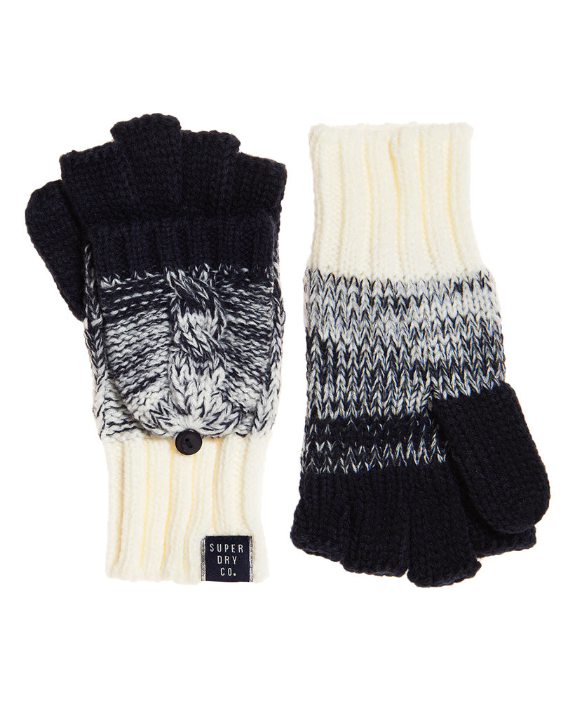 SUPERDRY CLARRIE CABLE MITTENS - DENIM OMBRE