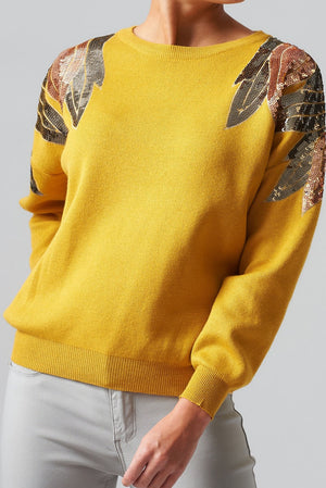 Long Sleeve Sequin Jumper - Mustard
