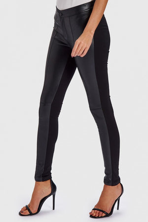FOREVER UNIQUE NELL BLACK LEATHER-EFFECT JEGGINGS