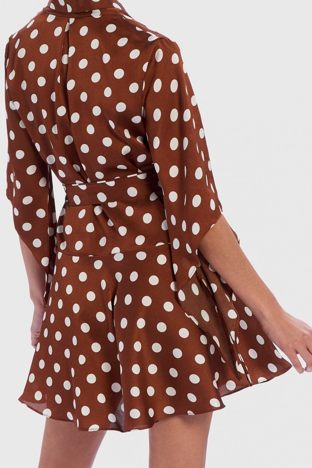FOREVER UNIQUE U POLKA DOT WRAP DRESS - TAN