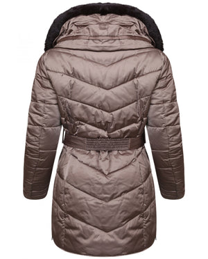 RINO & PELLE PRETTY FAUX FUR DOUBLE COLLAR QUILTED JACKET - GOLD