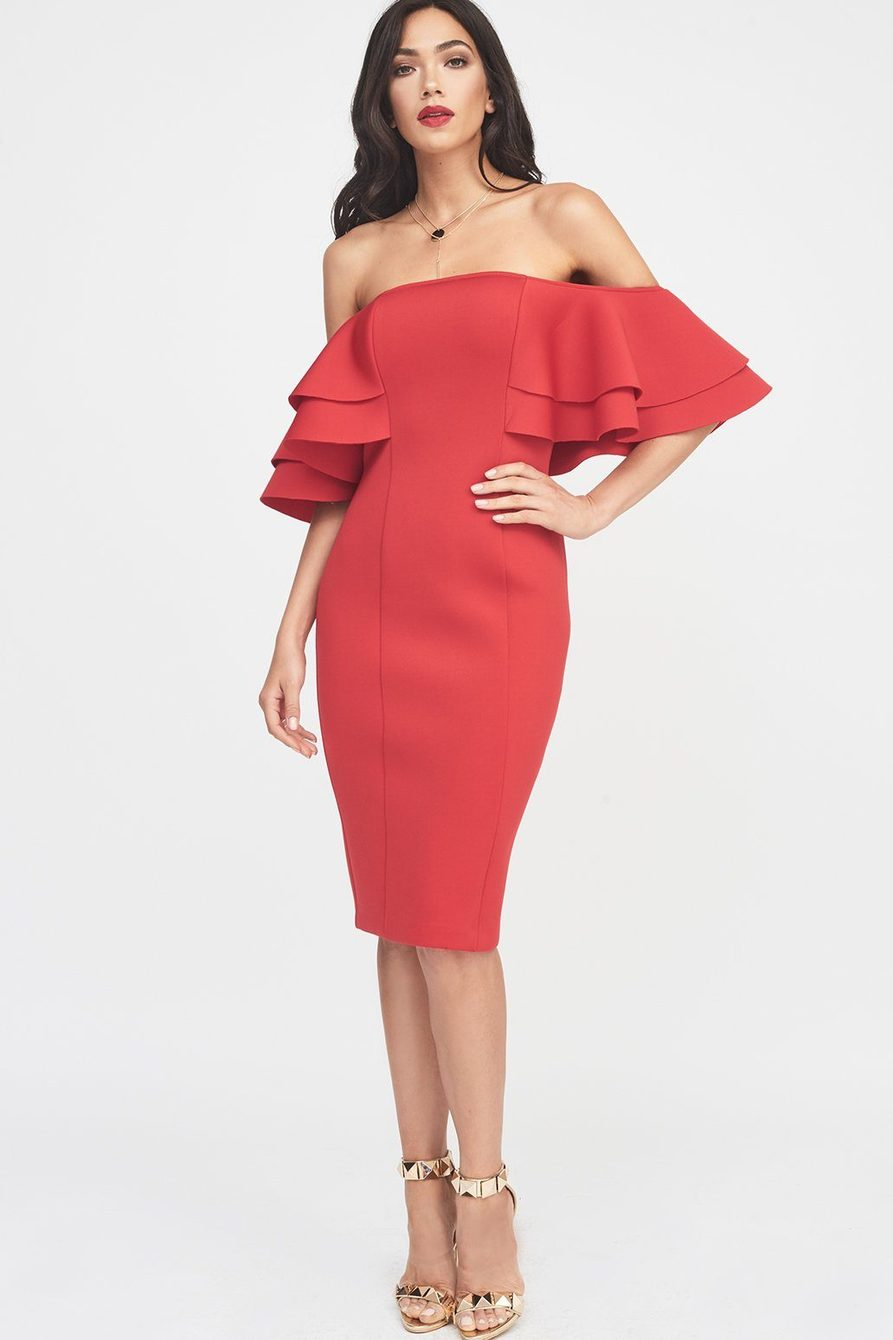 LAVISH ALICE SIGNATURE DOUBLE FRILL SLEEVE BARDOT SCUBA DRESS - RED