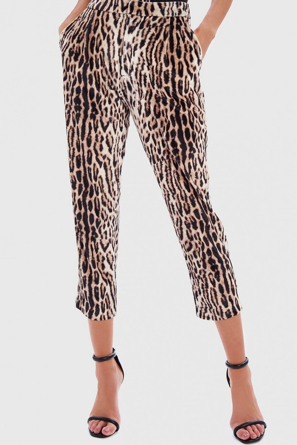 FOREVER UNIQUE REXI LEOPARD PRINT VELVET TAPERED TROUSERS