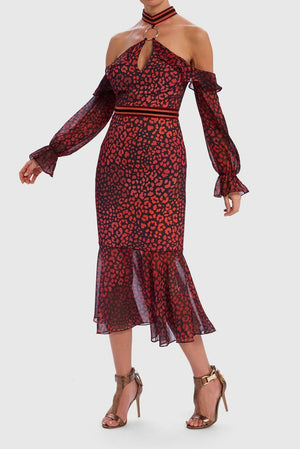 Roxanna Leopard Print Cold-Shoulder Contrast Ruffle Dress - Red