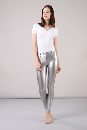Metallic Regular-Rise WR.UP® Super-Skinny Trousers - Silver