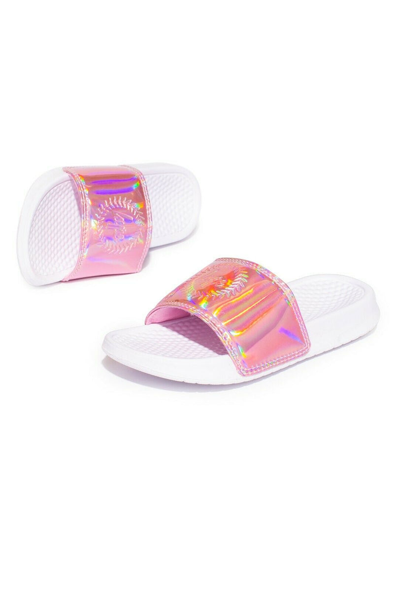 Pink Holo Kids Sliders - White
