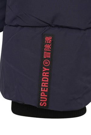 Sports Puffer Jacket - Navy/Black
