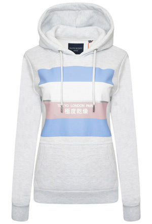 Stripe Block Entry Hoodie - Ice Marl