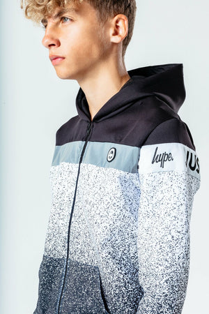Speckle Fade Poly Kids Zip Hoodie - Black/White