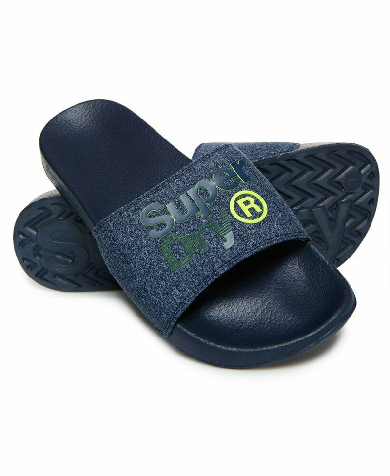 Lineman Pool Sliders - Navy/Navy Grit/Fluro Lime