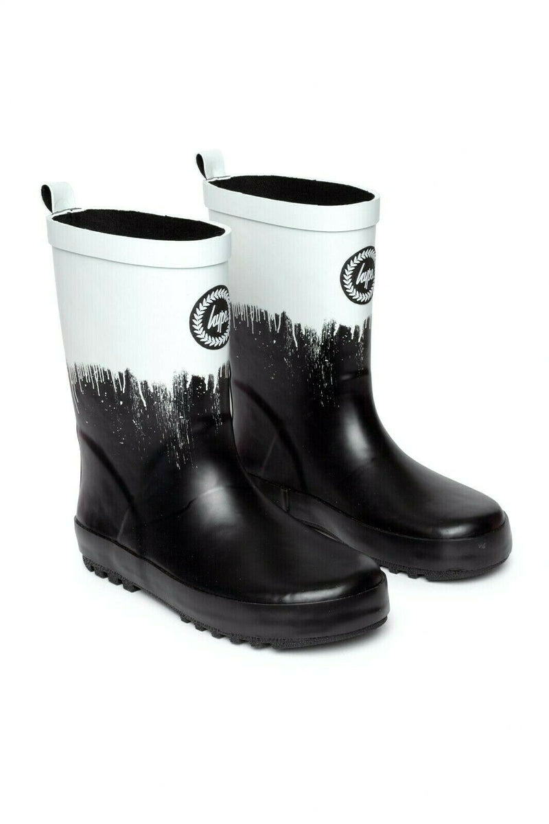 Kids Monochrome Drips Wellies - Black/White