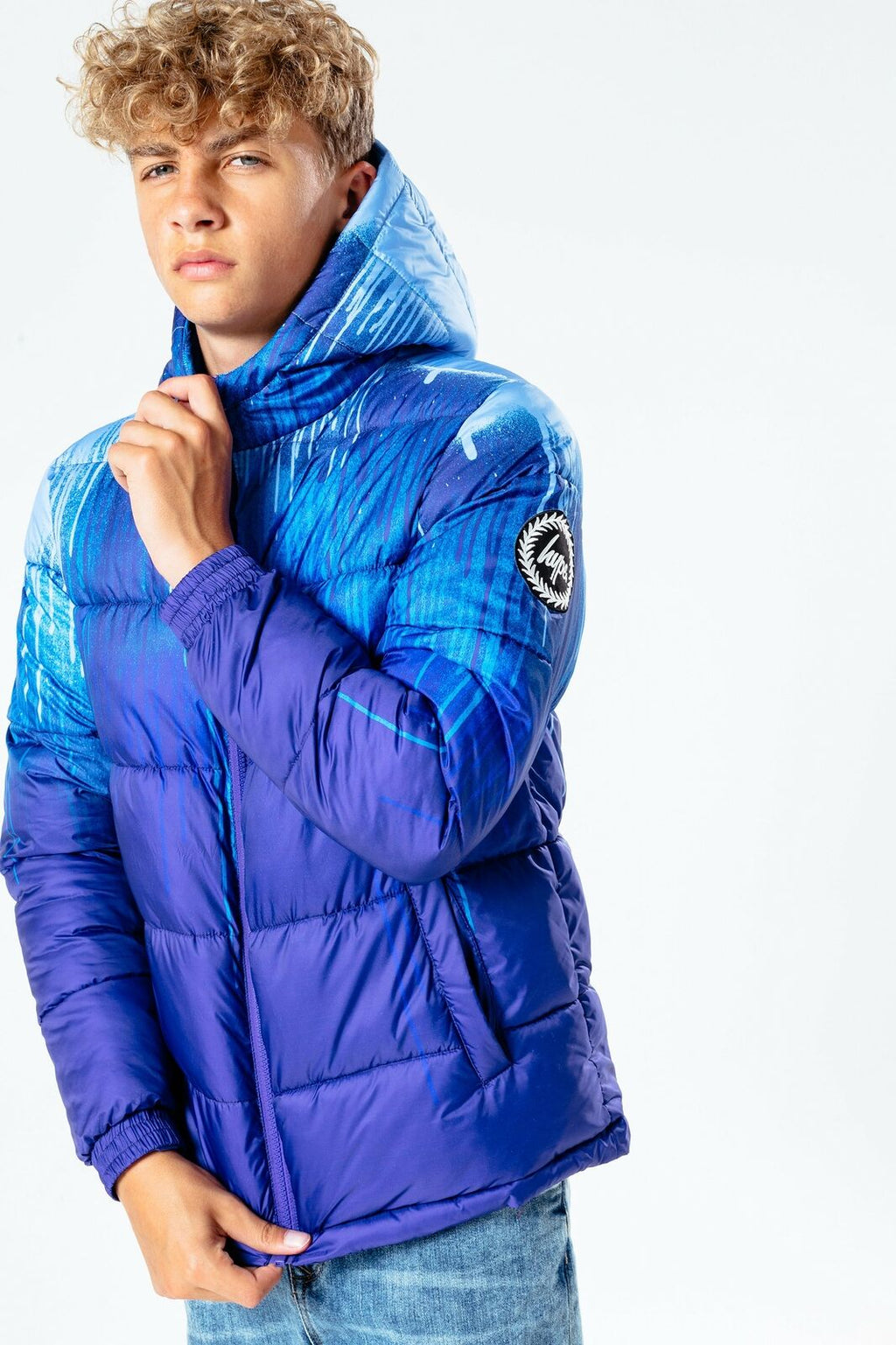 Blue Drip Kids Puffer Jacket - Blue