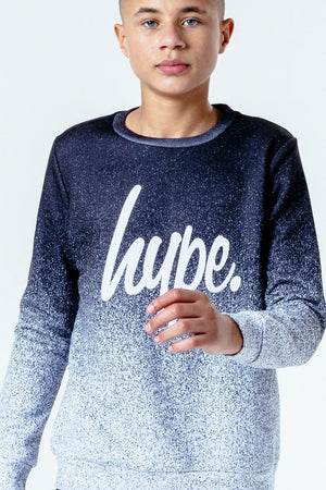 Black/White Speckle Fade Kids Crew Neck Top
