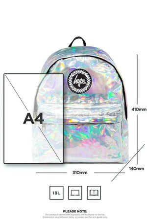 HYPE HOLOGRAPHIC BACKPACK RUCKSACK BAG - GREY