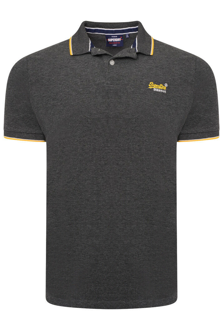 Poolside Pique Polo Shirt - Black/Grey Marl