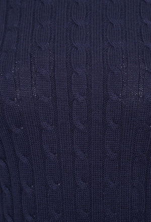 Croyde Cable Crew Jumper - Rich Navy