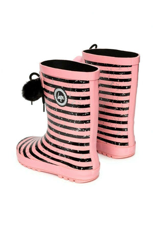 Girls Stripe Pom Pom Wellies - Pink