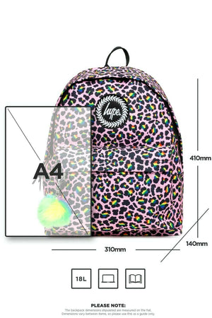 Rainbow Leopard Pom Pom Backpack
