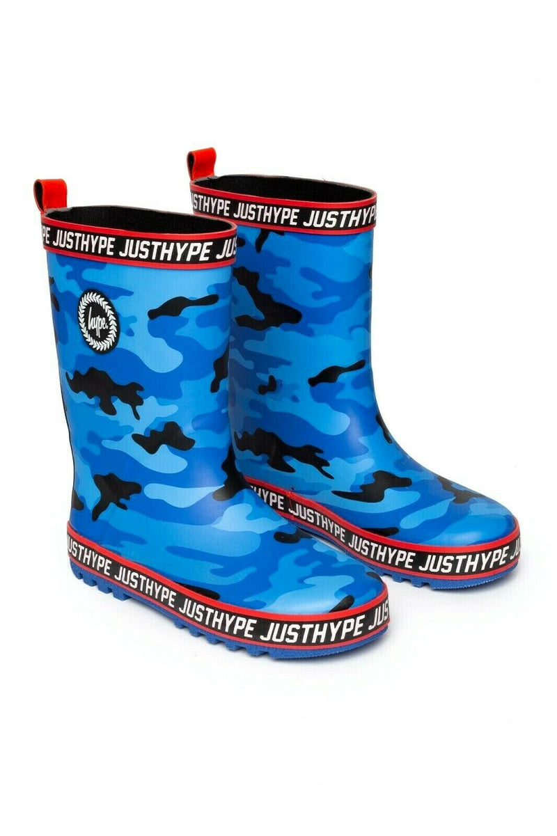 Kids Camo Printed Wellies - Blue