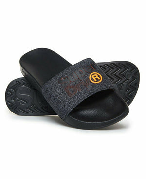Lineman Pool Sliders - Black/Black Grit/Hazard Orange
