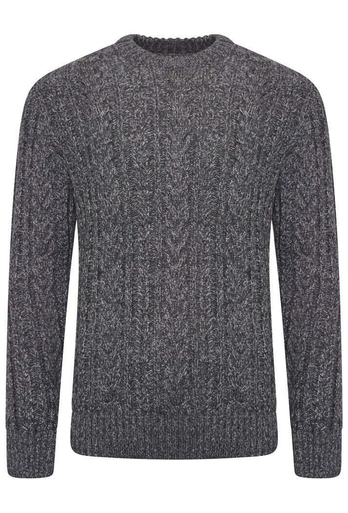 Jacob Cable Crew Jumper - Basalt Grey Twist