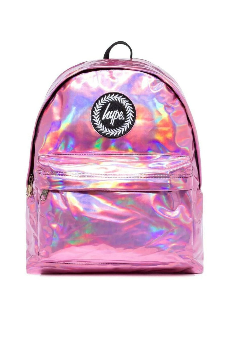 HYPE HOLOGRAPHIC BACKPACK RUCKSACK BAG - PINK