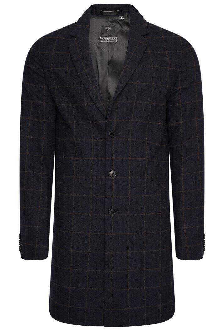 Foundation Wool Crombie Coat - Navy Check