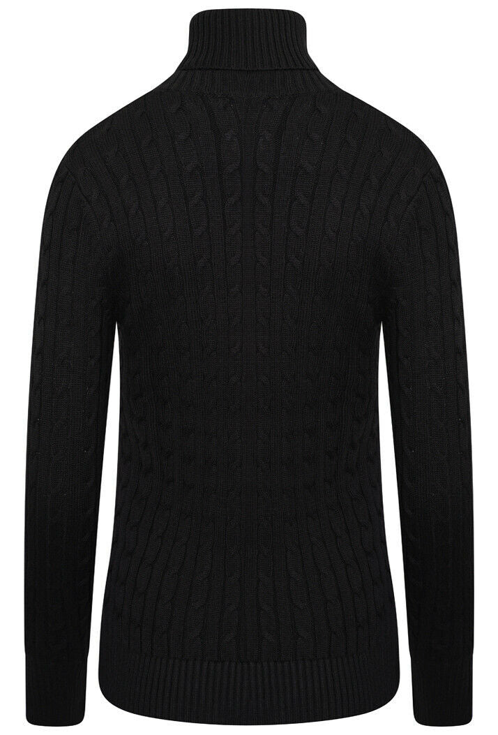 Croyde Cable Roll Neck Knit Jumper - Black
