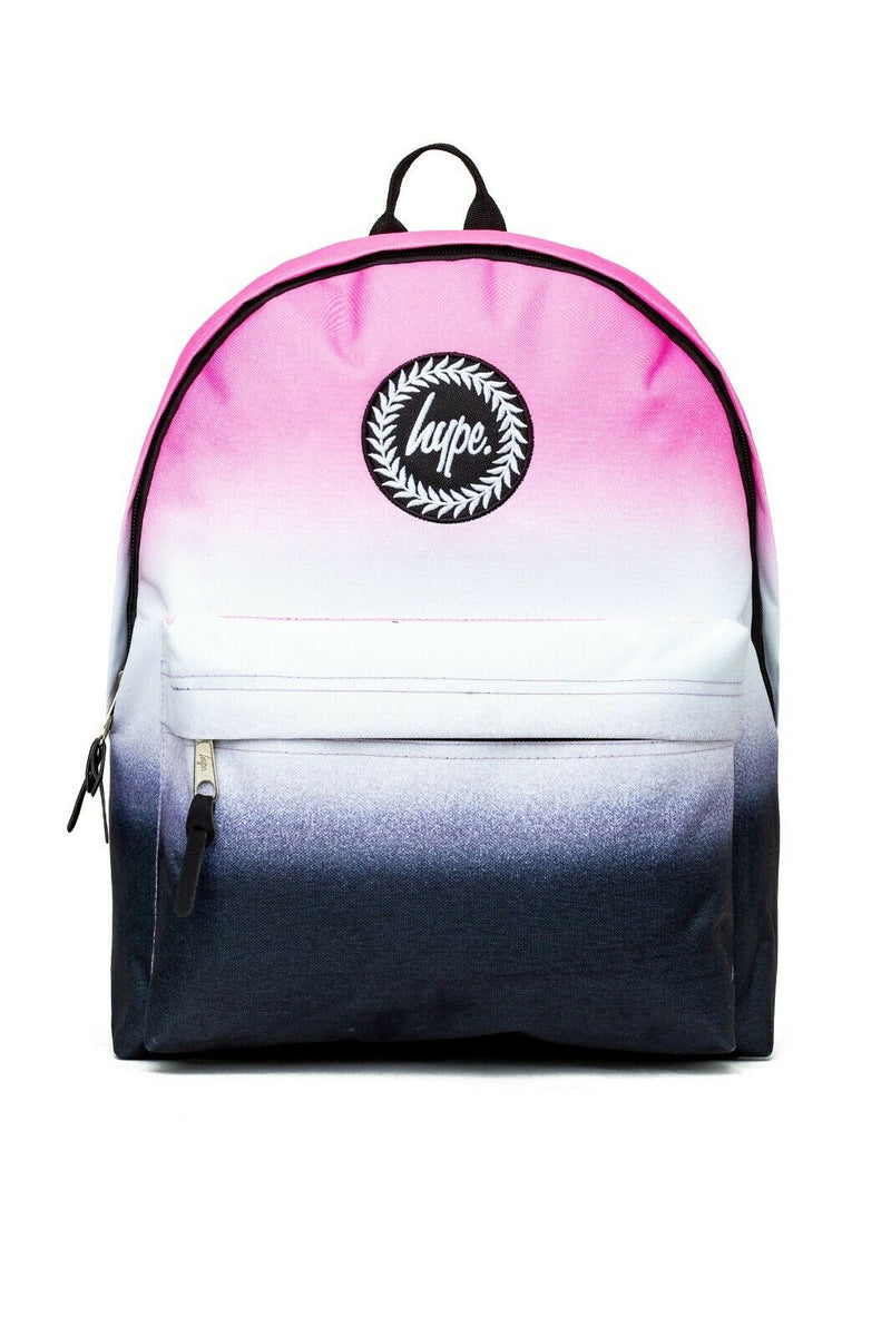 HYPE DUAL SPECKLE FADE BACKPACK RUCKSACK BAG - PINK/WHITE/BLACK