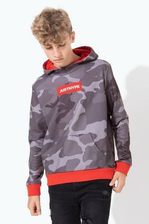 Shadow Camo Grey Kids Pullover Hoodie